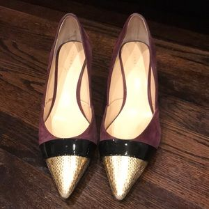 Burgundy suede with heels!
